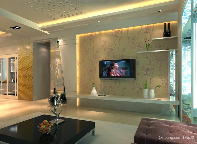 现代欧式大户型硅藻泥电视背景墙装修效果图鉴赏高清图片