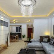 复式楼现代简约风格客厅珠帘灯饰装修效果图