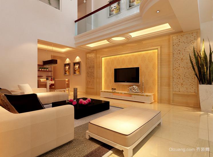 大户型精致的欧式客厅电视背景墙装修效果图欣赏