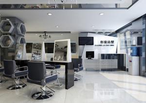 都市大型理发店吧台装修设计效果图