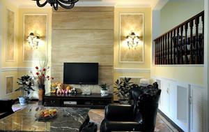 200平米跃层家居客厅电视背景墙壁灯图片