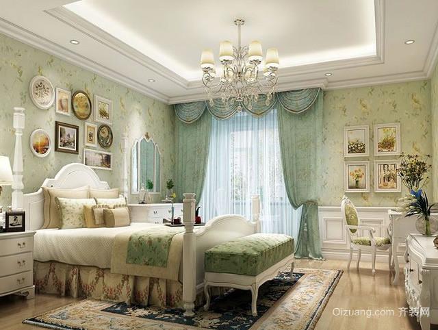 30平米欧式风格卧室现代化水晶灯装修效果图