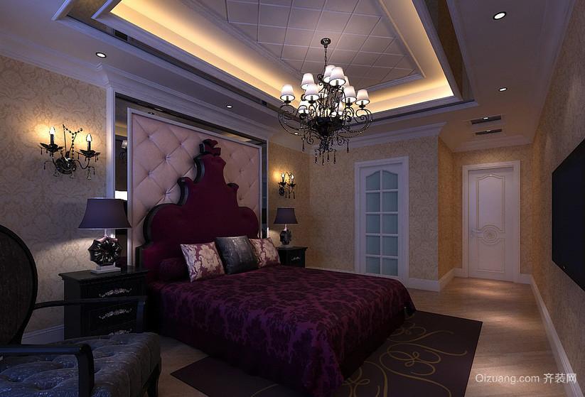 简欧式复古三室一厅家居卧室壁灯效果图片