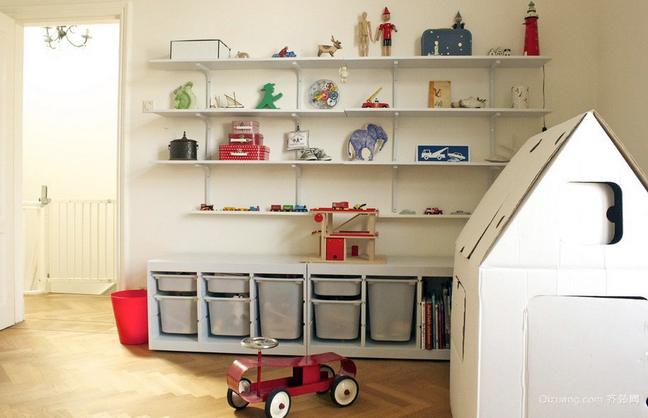 现代朴素94平米儿童房间置物架装修图