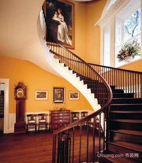 大户型复式楼欧式简约旋转楼梯装修效果图