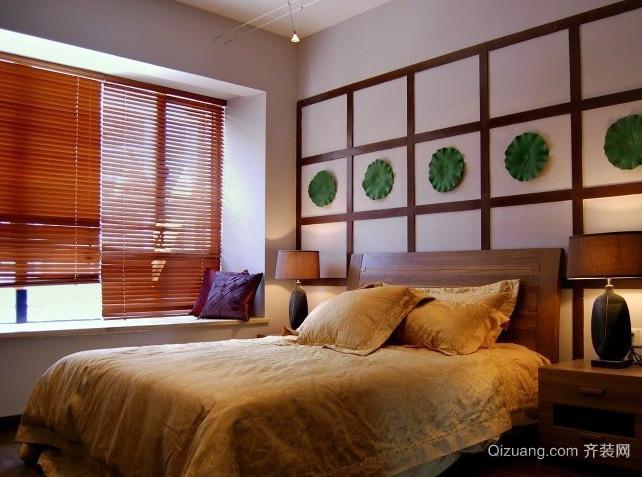 三室一厅东南亚风格卧室深色百叶窗帘装修图