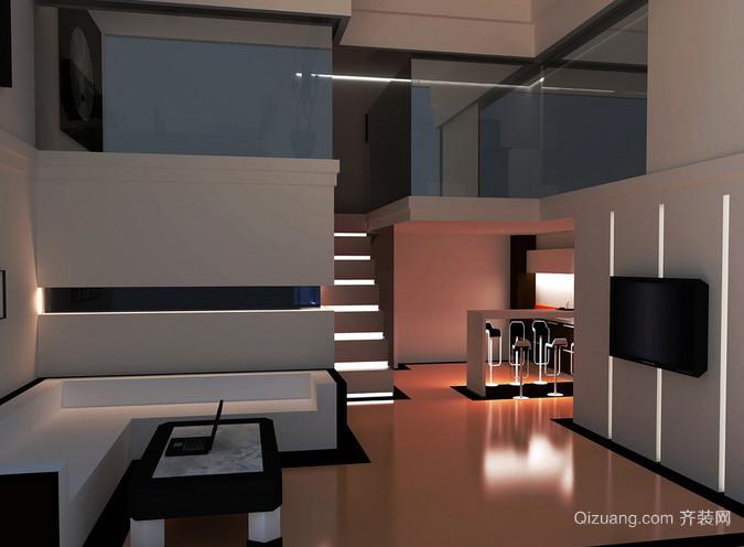 90平米黑白经典色搭配复式楼客厅装饰
