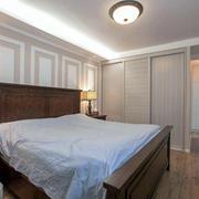 美式卧室实木床展示