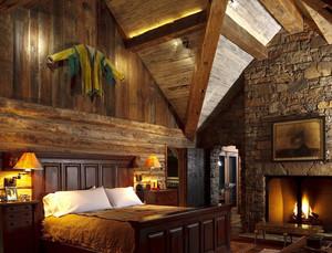 美式简约风格木屋别墅卧室装修效果图
