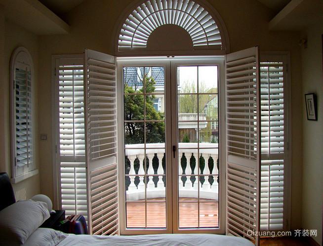 欧式简约风格清新卧室百叶窗帘装修效果图