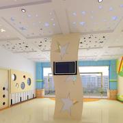 大型幼儿园现代简约风格大堂文化墙装修图