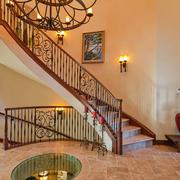 美式风格复式楼家居楼梯壁灯装修图片
