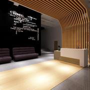 后现代风格小型公司前厅文化墙装修效果图