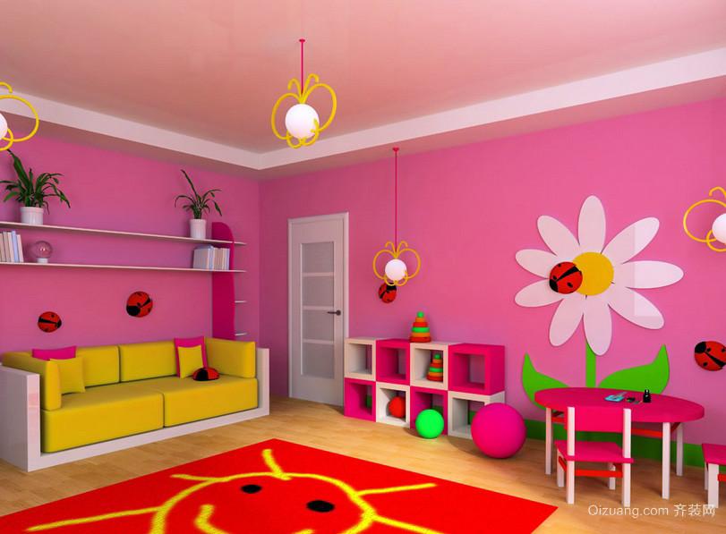 可爱甜美粉色16平米儿童房间装修效果图