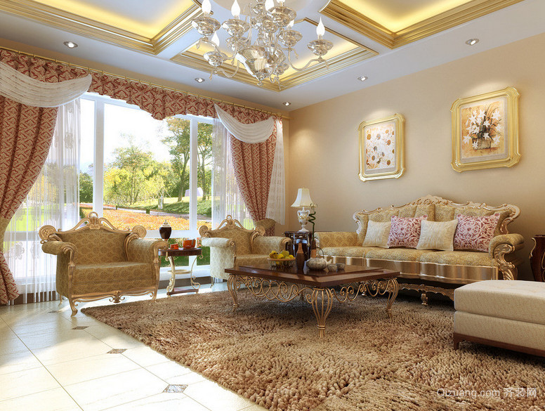 70平米现代欧式小户型客厅装修效果图实例