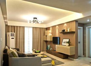 跃层现代简约风格客厅灯饰装修效果图