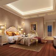 古典简欧大别墅卧室床头壁灯装修图片