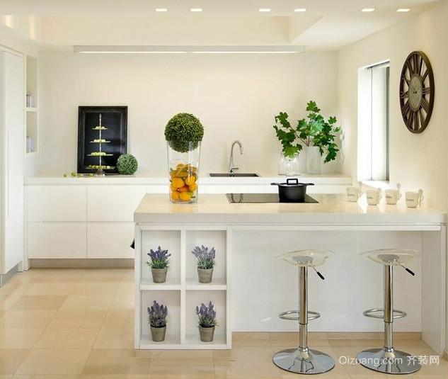 素雅简约开放式小厨房吧台装修设计图