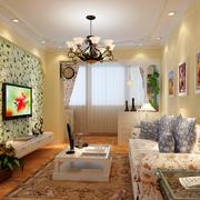 138平米唯美风格硅藻泥电视背景墙图片