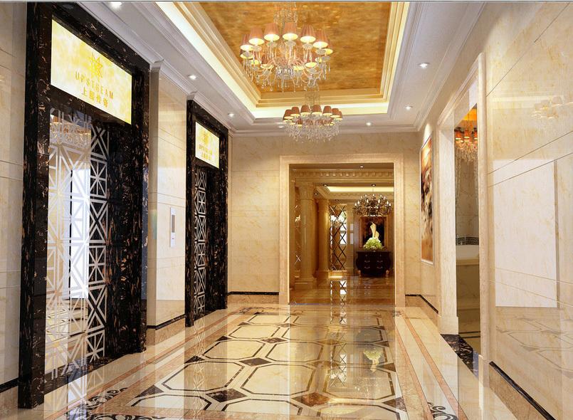 欧式风格三室一厅玄关大理石拼花贴图-齐装网装修效果