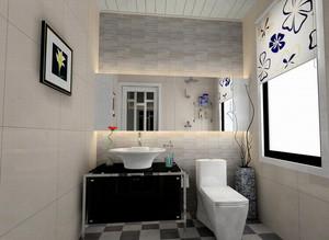 别墅简约风格公共卫生间装修效果图