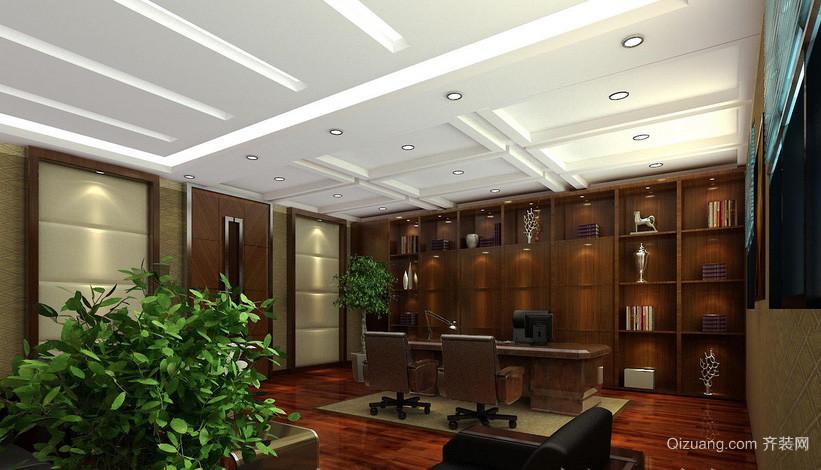 豪华新中式办公室红木办公桌效果图片