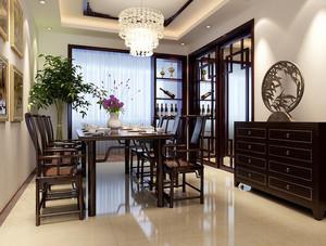 150平米中式简约风格别墅餐厅装修效果图