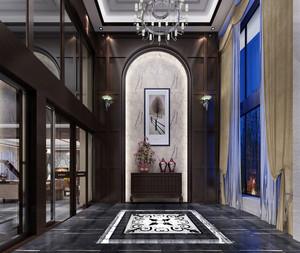 豪华现代302平米复式楼玄关大理石拼花贴图