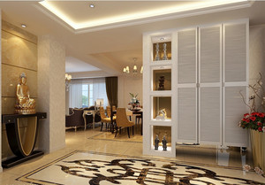欧式风格三室一厅玄关大理石拼花贴图