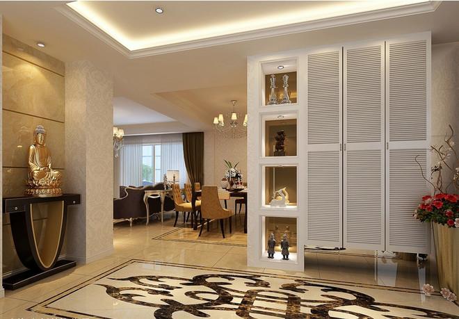 欧式风格三室一厅玄关大理石拼花贴图装修效果图