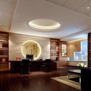 中式儒雅26平米办公室红木办公桌图片