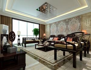 新中式客厅沙发背景墙大理石拼花贴图