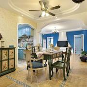 复古地中海风格两室一厅餐厅装修图片