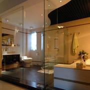 复式楼现代简约风格暖色系卫生间玻璃门装饰