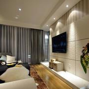 三居室简约风格硅藻泥电视背景墙图片