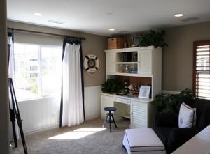 40平米北欧风格清新书房窗帘装修效果图