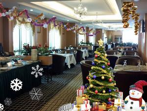 欧式简约风格圣诞节主题餐厅装修效果图