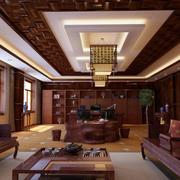 中式高贵大型办公室红木办公桌装修图片