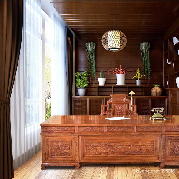2016中式大户型书房红木办公桌装修图片