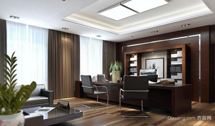 大型企业总裁办公室红木办公桌装修图片