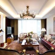 美式简约浅色房屋客厅吊顶装饰