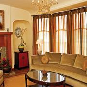 100平米美式简约风格客厅家装窗帘装修图