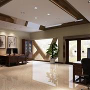 现代都市办公室红木办公桌装修图片