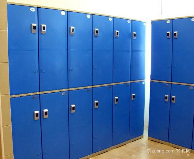 现代简约风格浴室蓝色系更衣柜装修效果图