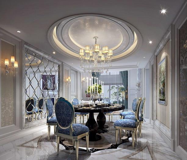 豪华欧式400平别墅餐厅大理石拼花贴图