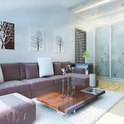60平米小户型老房现代简约风格客厅改造效果图