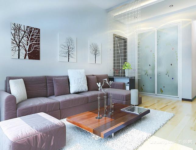 60平米小户型老房现代简约风格客厅改造效果图高清图片
