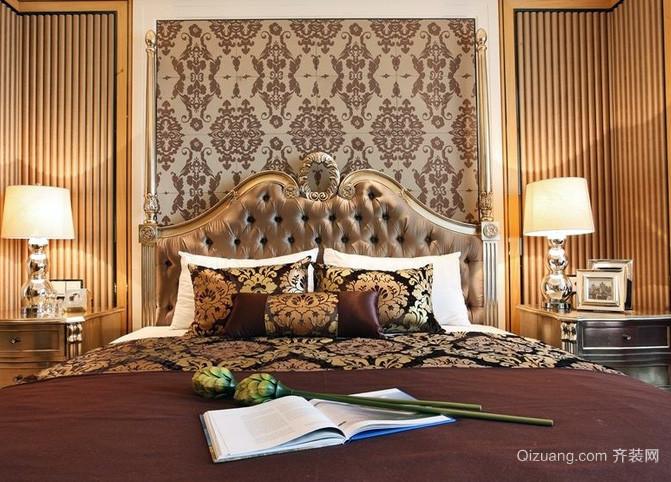 欧式别墅风格深色卧室壁纸装修效果图