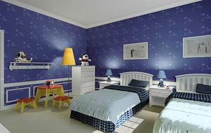 蓝色调壁纸装修图片