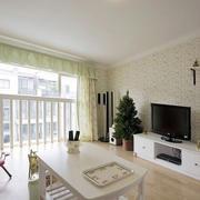 素雅田园风格房屋客厅电视背景墙效果图